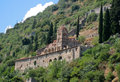 Pantanassa byzantine monastery mystras the at peloponnese greece with its facade arches and tower Stock Photos