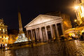 Pantheon at night rome photo taken in Stock Photo