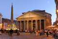 The pantheon roma italy building in rome dominating piazza della rotonda at sunset Stock Images