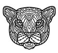 Panther head zentangle stylized, vector, illustration, Royalty Free Stock Photo