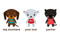 Panther and polar bear, dog set of cartoon characters