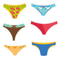 Panties sixdifferent with different colros and textures Royalty Free Stock Photos