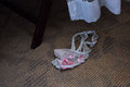 Panties thrown on the floor small crumpled a brown carpet Stock Photo