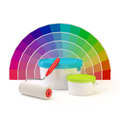 Pantone color palette, paint roller and cans of paint Stock Image