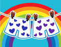 Pants in hearts of an amorous gay couple on a line Royalty Free Stock Images