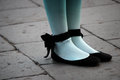 Pantyhose woman whit blue in the street Royalty Free Stock Photo