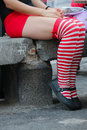 Pantyhose a woman whit striped Stock Images