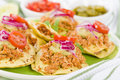 Panuchos mexican corn tortillas filled with refried beans and topped with shredded chicken guacamole pickled red onions and tomato Royalty Free Stock Images