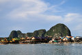 Panyee island at phangnga in thailand Stock Photos