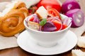 Panzanella italian cuisine salad of tomatoes red onions and dried bread Stock Photography