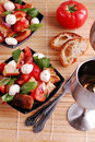 Panzanella with mozarella Royalty Free Stock Image