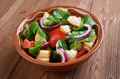 Panzanella or panmolle is a tuscan salad of bread and tomatoes Stock Photos