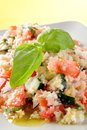 Panzanella whit tomato end basil Stock Photo