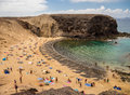 Papagayo beach lanzarote canary islands holidaymakers on the golden sands of papagayao playa del in Royalty Free Stock Photography