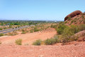 Papago amphitheater and scottsdale az mcdowell rd as seen from park arizona Royalty Free Stock Photo