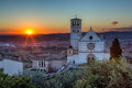 Papal Basilica of St. Francis of Assisi at sunset Royalty Free Stock Photo