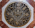Papal seal on the floor of Saint Peter`s Basilica in Vatican Royalty Free Stock Photo