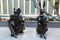 Paparazzi Dogman and Paparazzi Rabbitgirl sculpture by world-famous contemporary artists Gillie and Marc in New York