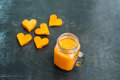 Papaya cutting shape of the heart.  smoothies. The flat lying structure. love concept. Valentine`s Day