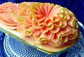 Papaya fruit beautiful creative Thai original carving Royalty Free Stock Photo