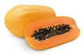 Papaya fruit with half on white clipping path Royalty Free Stock Photography