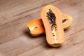 Papaya - half cut Royalty Free Stock Photo
