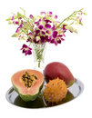 Papaya, Mango, Kiwano, Orchid Stock Photo