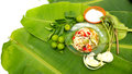 Papaya Salad display on banana leaf have free space isolate wite Royalty Free Stock Photo