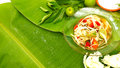 Papaya salad display on fresh banana leaf have free space Royalty Free Stock Photo