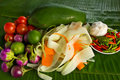 Papaya salad recipe a famous menu in laos and thailand Stock Photo