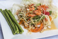 Papaya salad spicy green somtam famous thai food Stock Photos