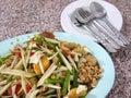 Papaya salad thailand national food Royalty Free Stock Images