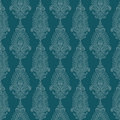 Papel de parede do damasco de Paisley do vintage do verde azul Fotografia de Stock Royalty Free
