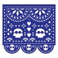 Papel Picado wedding invitation or greeting card vector template - Mexican paper cut out decoration with no text