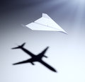 Paper airplane with big aspirations Stock Image