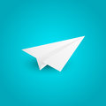Paper airplane on blue background Stock Image