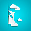 Paper airplane clouds with Royalty Free Stock Images