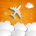 Paper airplane with clouds on an orange background striped Stock Images
