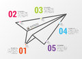 Paper airplane. Infographics concept. Vector design template