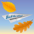 Paper airplane with the inscription Back to School. Falling autumn leaves. The celebration on 1 September. Vector Image.