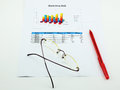 A paper of analyse marketing pen and spectacles Royalty Free Stock Image