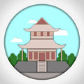 Paper applique style vector illustration. Card with application of Japanese pagoda. Postcard. Royalty Free Stock Photo