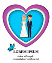 Paper art background with bride and groom. Vector illustration.