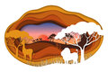 Paper art carving of landscape with african animals.