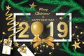 Paper art of merry christmas and happy new year 2019 with black