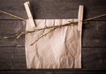 Paper attach to rope with clothes pins and branch of willow on wooden background Royalty Free Stock Photo