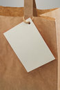 Paper bag blank tag Royalty Free Stock Photos