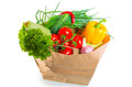 Paper bag brim full of healthy food dietary Stock Photography
