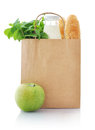 Paper bag with food brown isolated on a white background Stock Image