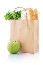 Paper bag with food brown isolated on a white background Stock Photos
